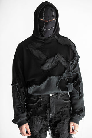 FRACTURE EMBROIDERED HOODIE CHARCOAL BLACK