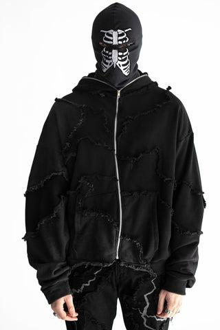 SHATTERED FULL ZIP HOODIE FADED BLACK