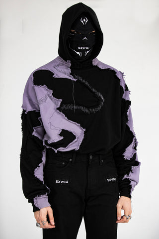 Shattered Hoodie Lilac Black
