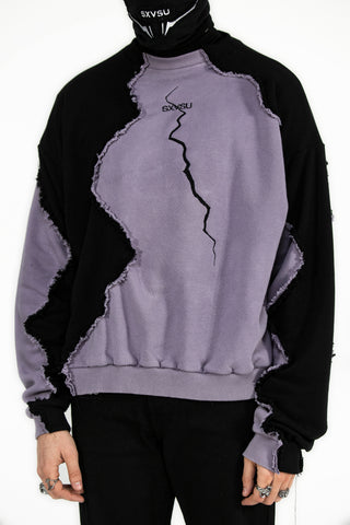 Fractured Logo Embroidered Crewneck Lilac Black
