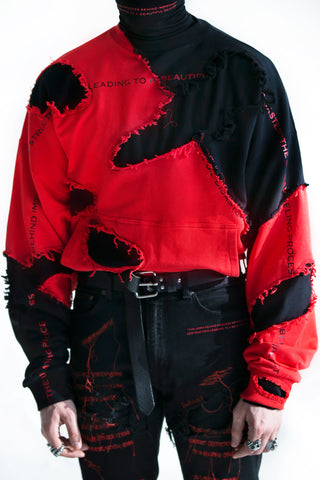 Beautiful Disaster Crewneck Bloodred
