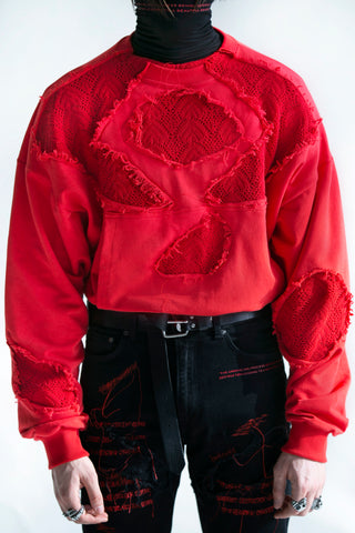 Shattered Parasol Knit Merged Crewneck Bloodred