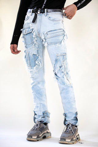 DESTROYED MERGED DENIM LIGHT BLUE