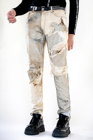 DISTRESSED MESH MERGED DENIM BEIGE