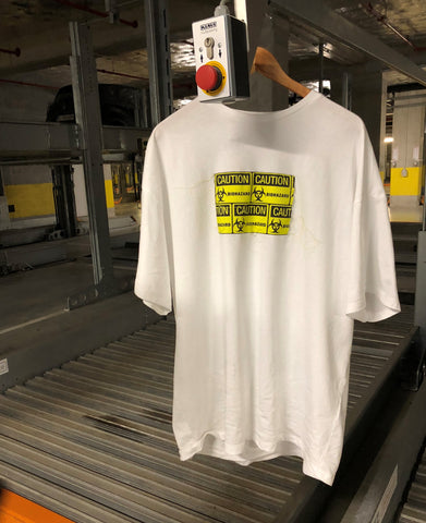 OVERSIZED CAUTION TEE WHITE