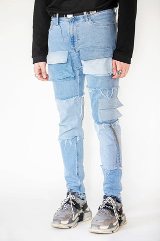 Unraveled Pocket Denim Blue