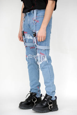 Distressed Skin Harness Denim