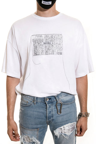 JAPANESE NEWSPAPER TEE WHITE