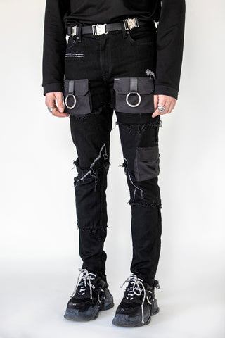 Unraveled Pocket Denim Black