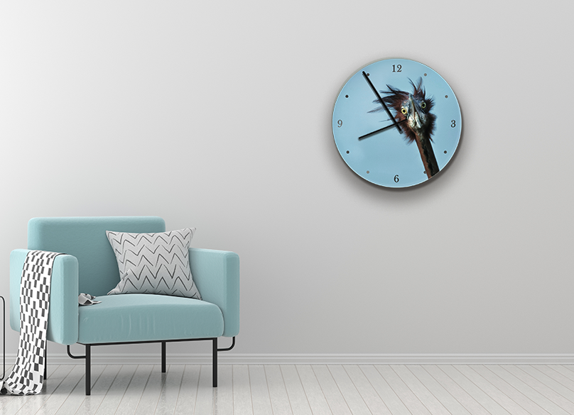 Clock with Heron Image - HPH Publishing