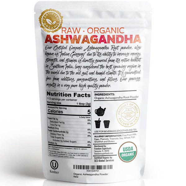 Ashwagandha Root Powder -  Premium Organic Root Extract - Helps to Boost Energy & Mood and Enable Better Quality of Sleep - Non GMO , Vegan , Kosher and Gluten Free - 8oz