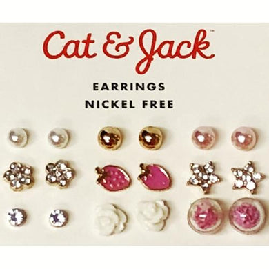Faux Pearl, Pink, Crystal Stud Earrings - Nickel Free (9 Pair) at DollarFanatic.com America's Exclusively Online Dollar Stores.