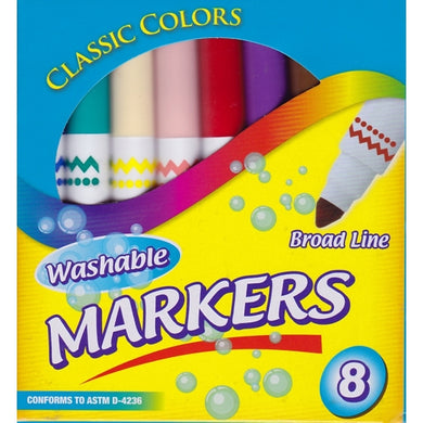 Broad Line Classic Colors Non-Toxic Washable Markers (8 Pack)