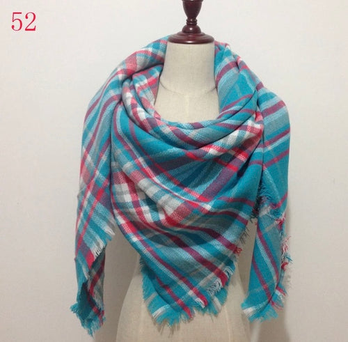 Blue Pink Mixed Plaid Blanket Scarf Fall and Winter Scarves