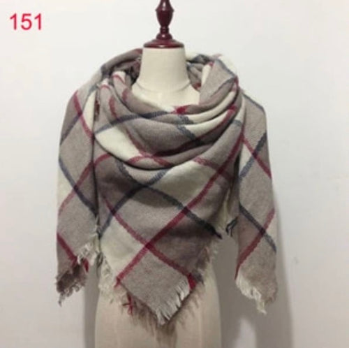 Beige Plaid Blanket Scarf Fall and Winter Scarves