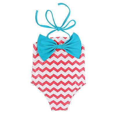 Chevron Swimsuit with Big Blue Bow For Baby Toddler Girl
