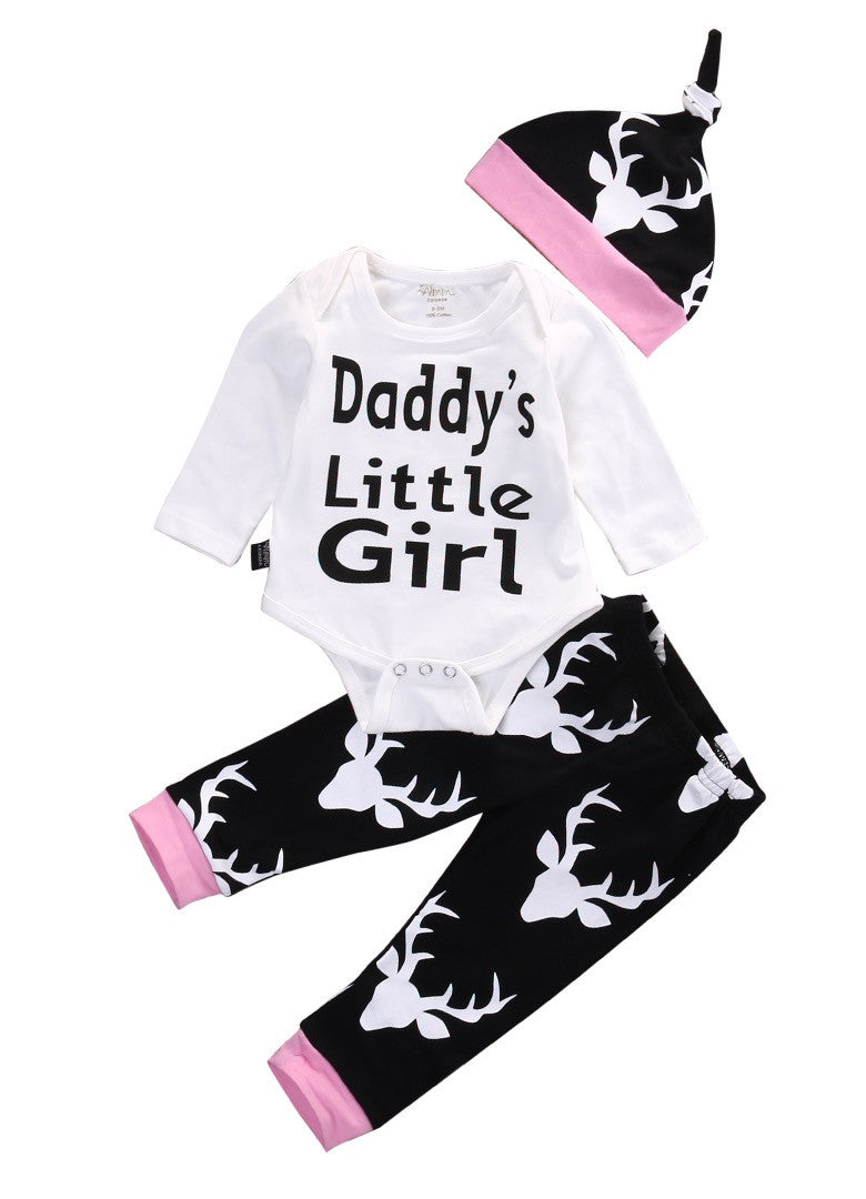 Daddy's Little Girl Deer Head Pants, Hat, and Bodysuit
