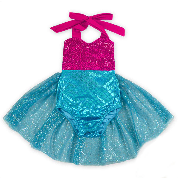 Pink Sequin Mermaid Swimsuit with Blue Mermaid Scales and Tulle