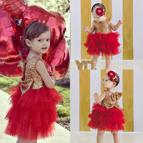 Ready To Ship! Red Glitter Party Dress
