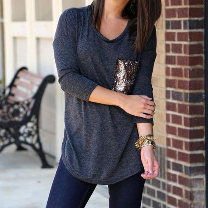 Chloe Sequin Top in Gray