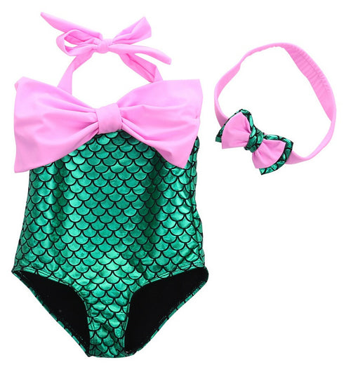 Mermaid Swimsuit Set with Matching Headband in Green and Pink