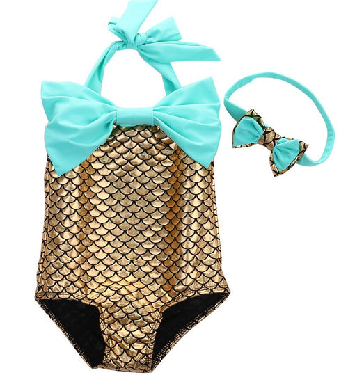 Mermaid Swimsuit Set with Matching Headband in Yellow and Green