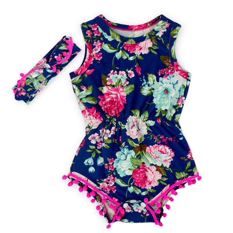 Flower Navy Blue Pom Pom Romper with Pink, Mint Green, and Blue Accents For Baby Girl