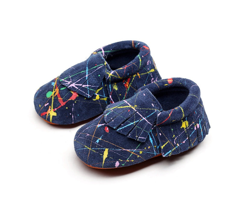 Genuine Leather Paint Splatter Moccasins for Baby and Toddler