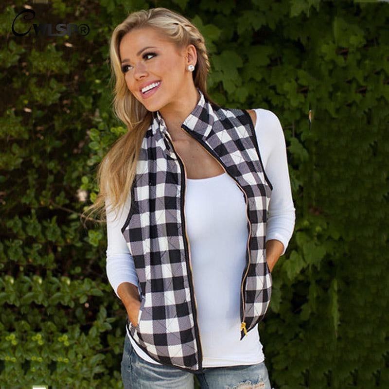 Black and White Flannel Plaid Vest