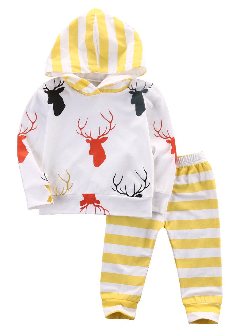 Deer Head Antler Sweat Shirt and Pants Set