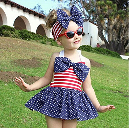 American Flag Swimsuit Set
