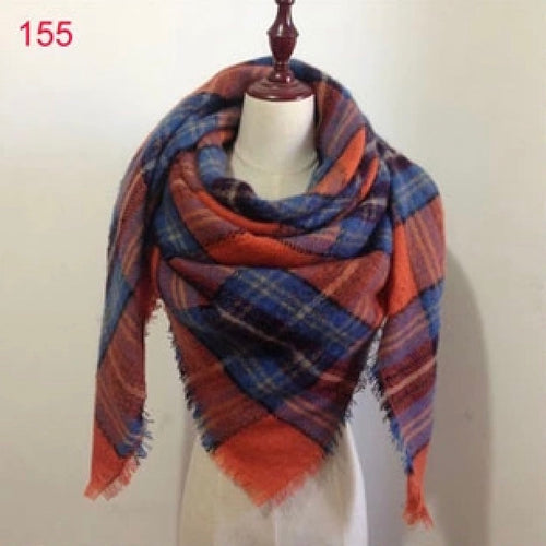 Blue Orange Plaid Blanket Scarf Fall and Winter Scarves