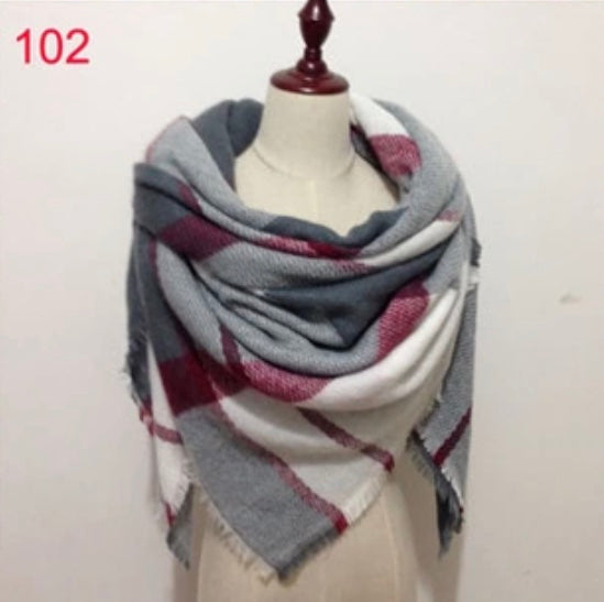 Gray Plaid Blanket Scarf Fall and Winter Scarves