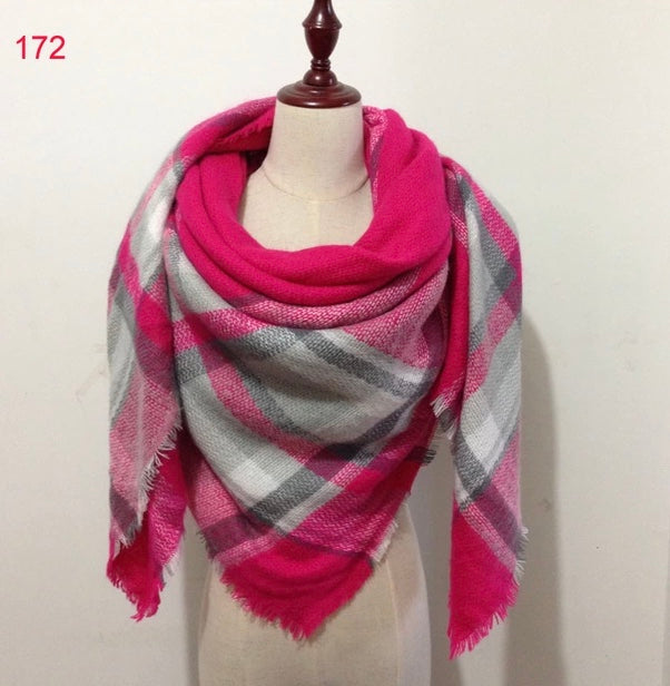 Pink Gray Mixed Plaid Blanket Scarf Fall and Winter Scarves