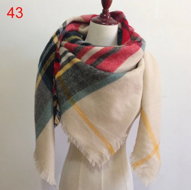 Beige Mixed Plaid Blanket Scarf Fall and Winter Scarves