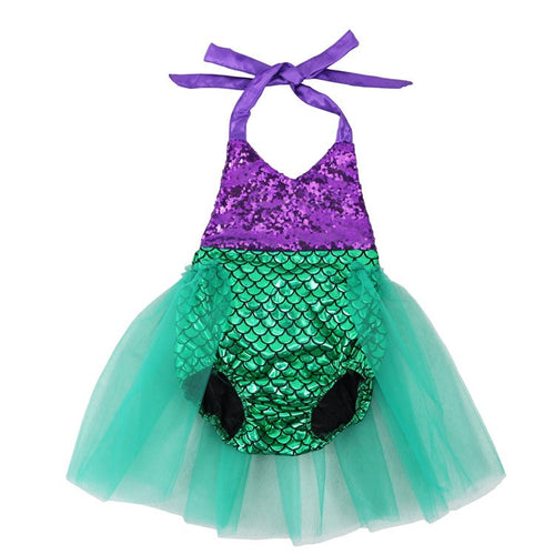 Dark Purple & Green Sequin Mermaid Swimsuit