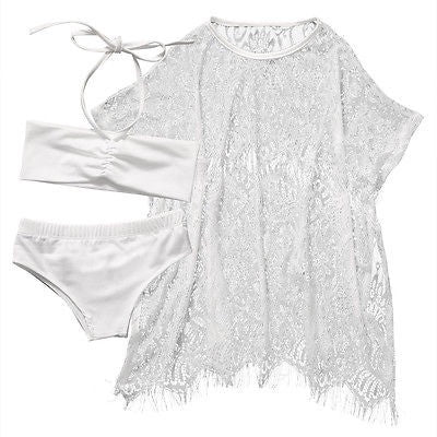 White Swimsuit and Lace Cover Up Set