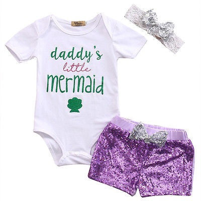 Daddy's Little Mermaid Clothing Set