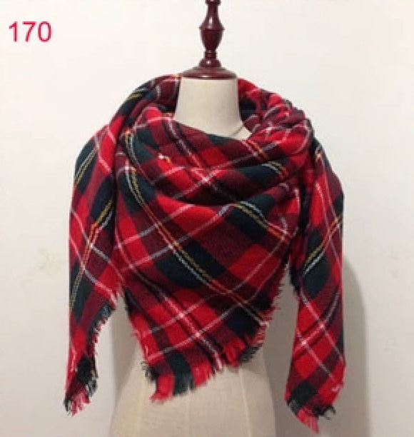 Red Christmas Plaid Blanket Scarf Fall and Winter Scarves