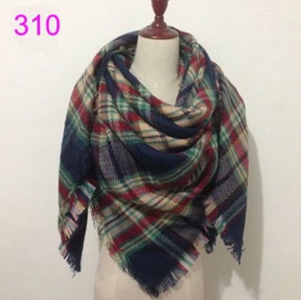 Navy Mixed Plaid Blanket Scarf Fall and Winter Scarves