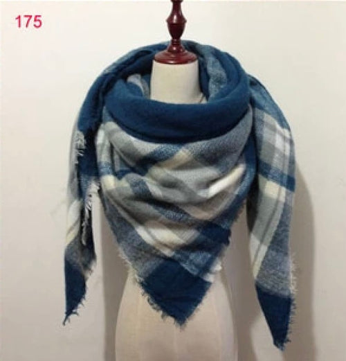 Blue Plaid Blanket Scarf Fall and Winter Scarves