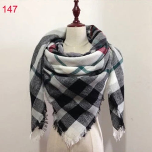 Black Plaid Blanket Scarf Fall and Winter Scarves