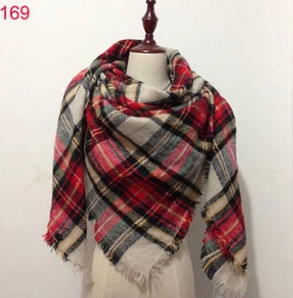 Red Beige Plaid Blanket Scarf Fall and Winter Scarves