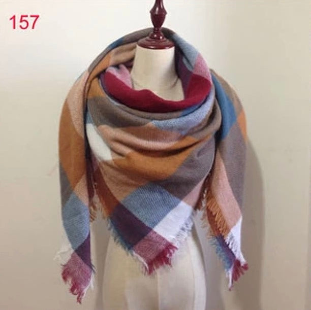 Fall Mixed Plaid Blanket Scarf Fall and Winter Scarves