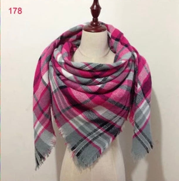 Pink Gray Plaid Blanket Scarf Fall and Winter Scarves