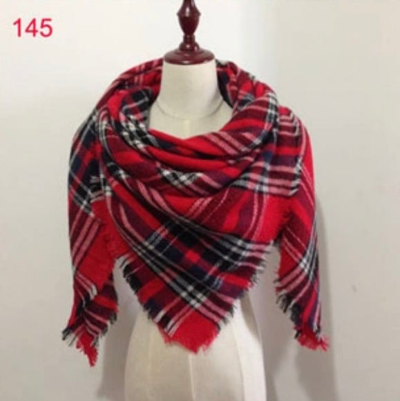 Red Black Plaid Blanket Scarf Fall and Winter Scarves