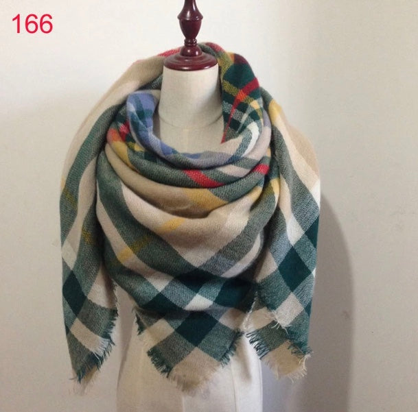 Green Beige Plaid Blanket Scarf Fall and Winter Scarves