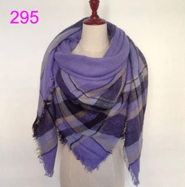 Purple Mixed Plaid Blanket Scarf Fall and Winter Scarves