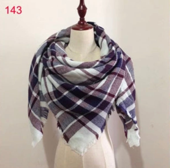 Purple Plaid Blanket Scarf Fall and Winter Scarves