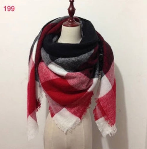 Burgundy Black Plaid Blanket Scarf Fall and Winter Scarves